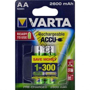 شارژی وارتاسایز AA قلمی با قابلیت نگهداری شارژ به مدت طولانی 1 300x300 - باتری قلمی قابل شارژ وارتا با ظرفیت 2600 میلی آمپر