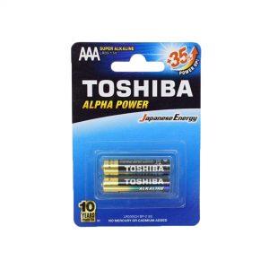 باتری نیم قلمی سوپر آلکالاین توشیبا مدل Alpha Power بسته دو عددی