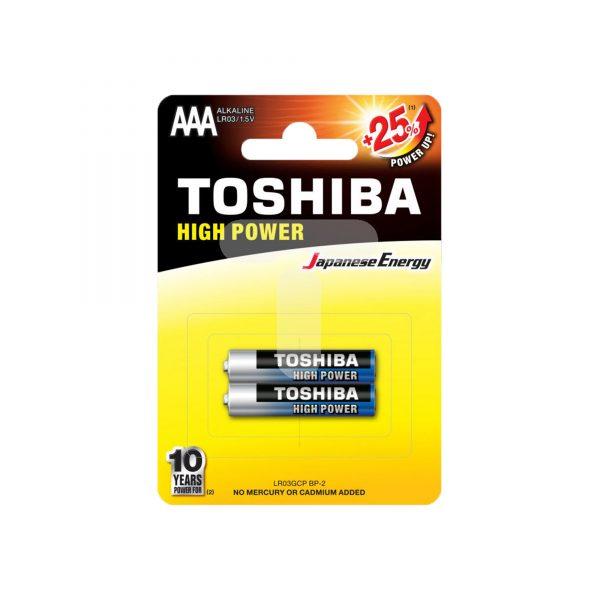 باتری نیم قلمی آلکالاین Toshiba مدل high power بسته دو عددی